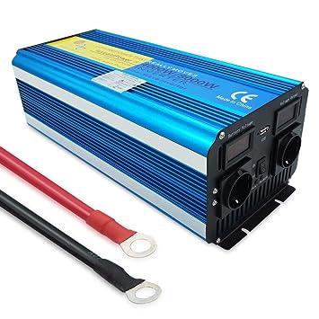 Yinleader inversor de Corriente Onda Pura 4000w 8000W(Peak) Transformador De 12v A 230v convertidor USB LED 2 Enchufe para Coche Caravana cámping de Viaje: ...