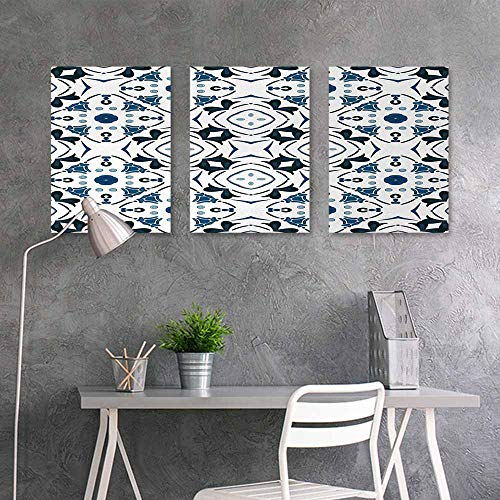 - BE.SUN Graffiti Canvas Painting,Abstract,Decorative Petals and Octagon Forms Royal Victorian Figures Geometry in Art,On Canvas Abstract Artwork 3 Panels,16x31inchx3pcs,Blue Black White