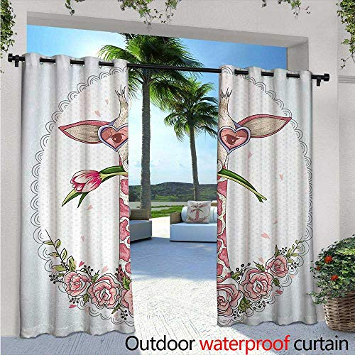 Valentine Outdoor- Free Standing Outdoor Privacy Curtain W96