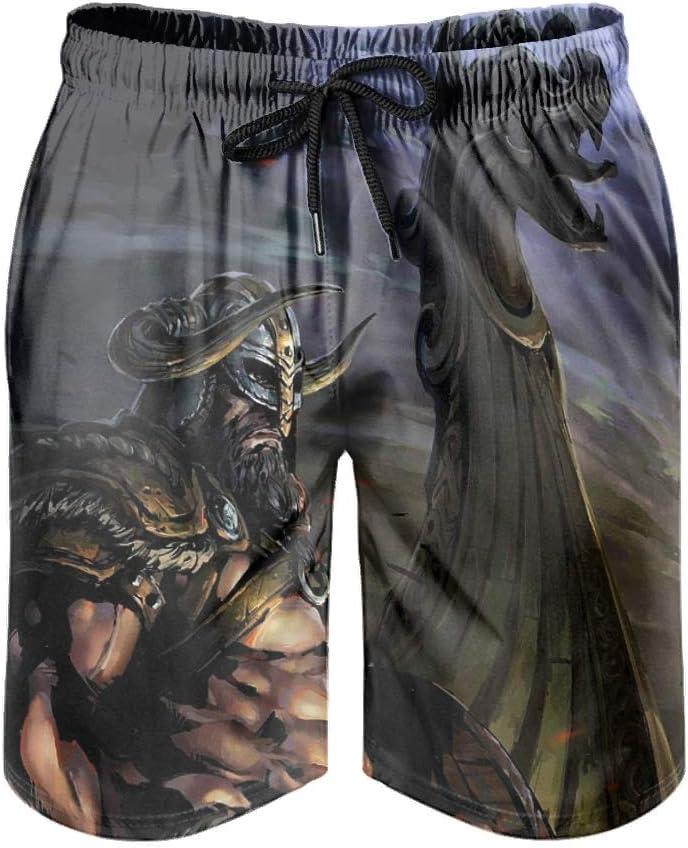 Dessionop Pantalones cortos de playa para hombre, estilo vikingo, guerrero, espada, barco de dragón, impresión de ropa de playa con forro psicodélico