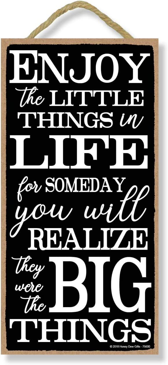 Enjoy the Little Things in Life - 5 x 10 inch Hanging Signs, Wall Art, Decorative Wood Sign, Inspirational Gifts