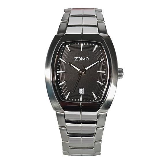 efe2d182bb8 Amazon.com  Mens Watches ZOMO Adore 3656.505 Swiss Quartz Tonneau Watches -  Stainless Steel Bracelet Designer Watch(Black Dial)  Beauty