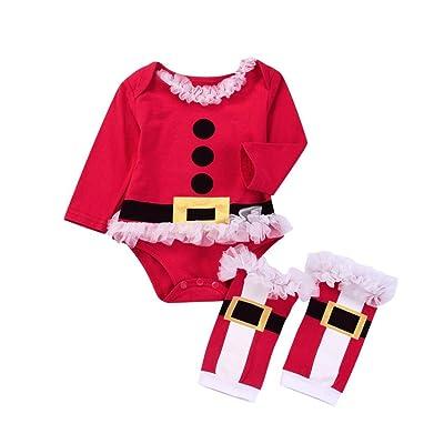 1a73cdee07eea Smileq 2 pcs Bébé Noël Grenouillère Ensemble de nouveau-né Toddler Filles  Santa Claus Dentelle Tutu Barboteuse Jambière tenues enfants de Noël  Cosplay ...