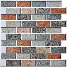 "Art3d Peel and Stick Kitchen Backsplash Self Adhesive Subway Tile, 12""x12"" Faux Stone Mosaic (10 Tiles)"