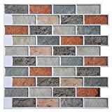 Art3d Peel and Stick Kitchen Backsplash Self Adhesive Subway Tile Smart Sticker, 12''x12'' Faux Stone Mosaic (2 Pack)