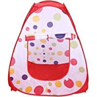 Baby Grow Kid's Pop Up Large Play House Children Indoor Outdoor Steel Tent without Balls, 95x95x92cm (Red-White)