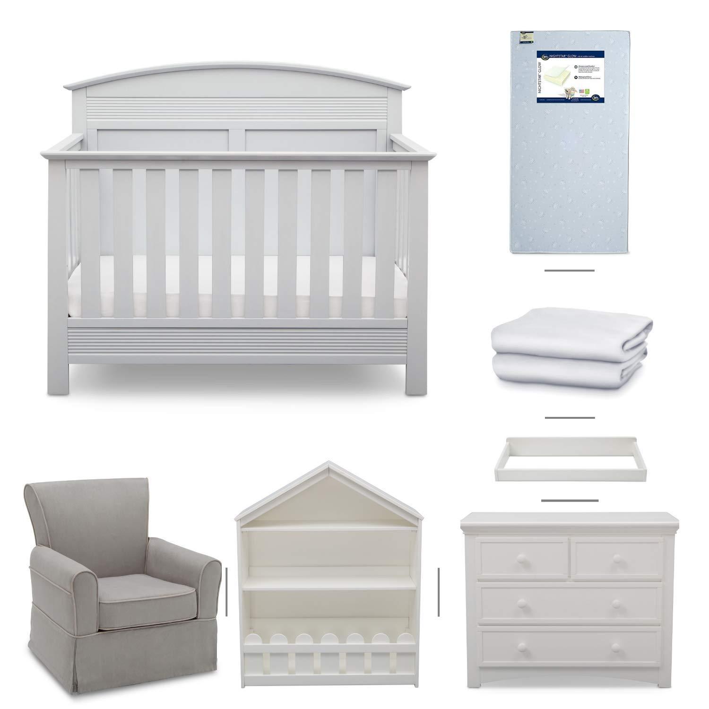 Serta Ashland 7-Piece Nursery Furniture Set - Convertible Crib | 4-Drawer Dresser | Changing Top | Bookcase | Crib Mattress | Glider | Crib Sheets | Bianca White by Delta Children