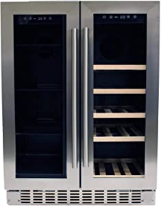 Azure 24-Inch 5 Cu. Ft. / 15 Bottle Dual Zone Beverage/Wine Center - Stainless Steel - A124DZ-S