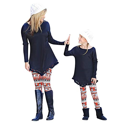 5db2412f87 HYIRI Christmas Mommy &Me Women Plaid Star Print Pants Family Leggings  Pencil Clothes