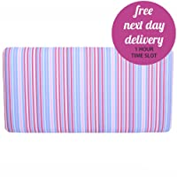 Children's Cotton Pink White Blue Striped Single Bed Divan Headboard