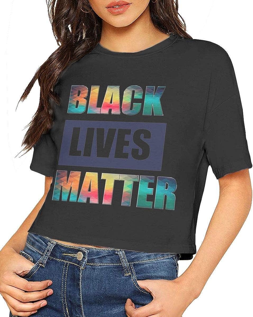 Chouven Womens Crop Top Black Lives Matter Logo O-Neck Short Sleeve T-Shirt