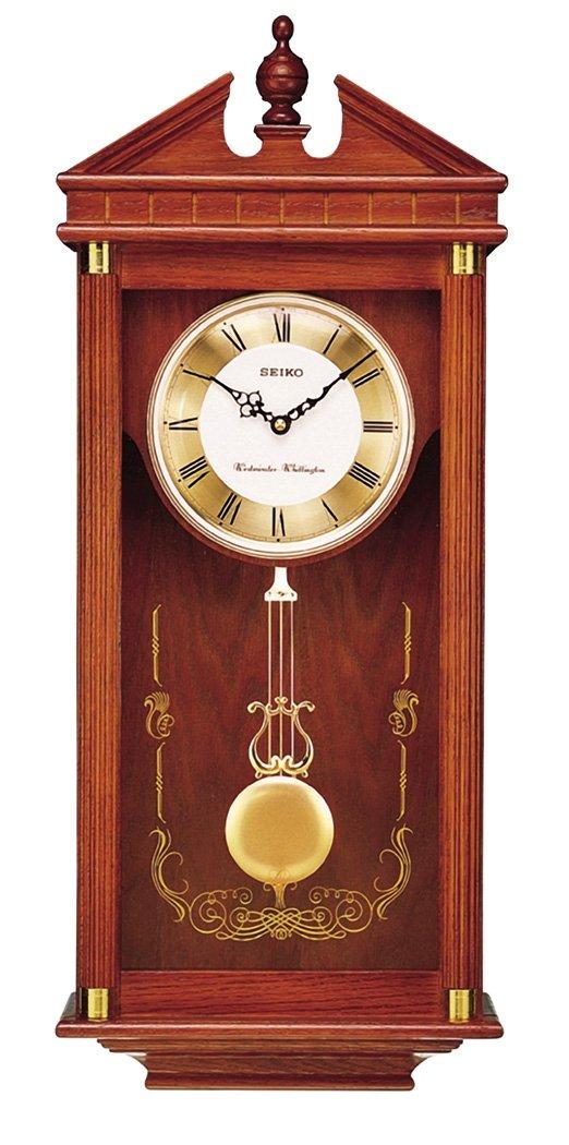 Seiko Wall Pendulum Clock Dark Brown Solid Oak Case by Seiko Watches
