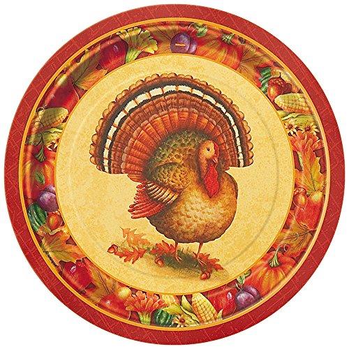 Festive Turkey Thanksgiving Dessert Plates, 8ct
