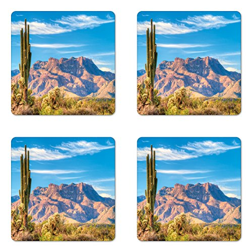 Botanic Square Coasters Garden - Ambesonne Cactus Coaster Set of 4, Landscape of Mountain Sun Desert Cactus Plant Botanic Bushes Sky with Clouds Image, Square Hardboard Gloss Coasters for Drinks, Brown Blue