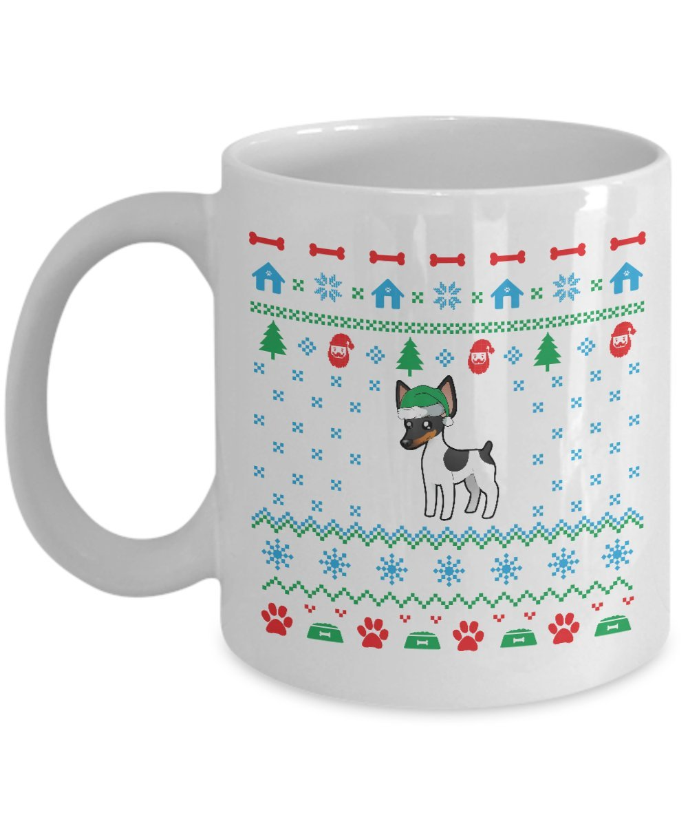 Toy Fox Terrier Dog Ugly Christmas Mug (White, 11 Oz) - Gifts for Toy Fox Terrier Dog Lovers Owners
