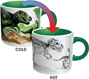 The Unemployed Philosophers Guild Disappearing Dino Mug - Heat Sensitive Color Changing Coffee Mug - Add Hot Liquid and Watch Dinosaurs Turn to Fossils