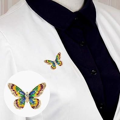 6245f50dd80 Amazon.com: Finance Plan Fashion Women Colorful Butterfly Rhinestones  Inlaid Brooch Pin Clothes Decor: Jewelry