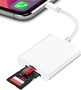 TRYVAT SD/TF Card Reader Compatible with iPhone iPad, Dual Slot Memory Card Adapter Trail Game Camera Card Reader Viewer, No App Required, Plug and Play (White)