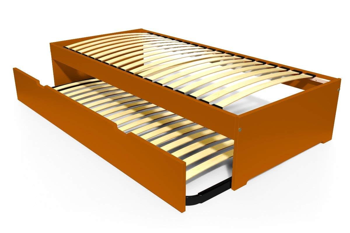 ABC MEUBLES - Ausziehbett Malo 90x190 cm Holz - TOPMALO90 - Schokolade, 90x190