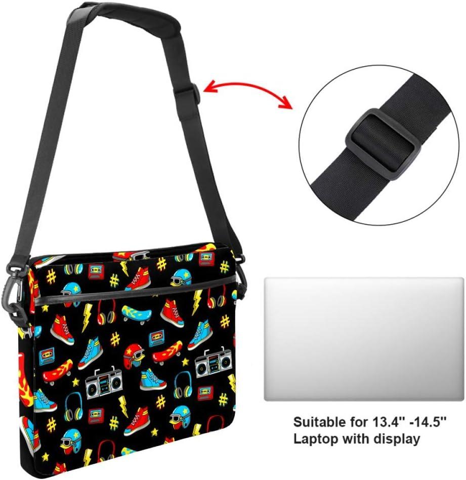 Laptop Bag Satchel Tablet Sleeve Bussiness Shoulder Bag Document Handbag Briefcase 15x5.4 Inch Cartoon Helmet Sneakers Headphones