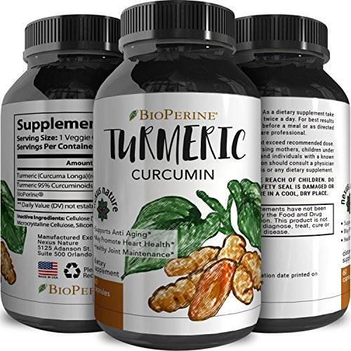 Pure Turmeric Curcumin Extract with Bioperene – Best All Natural Ground Root Supplements – Top Antioxidant Benefits – Capsules for Men + Women – Immune Response + Joint Health – Nexus Nature