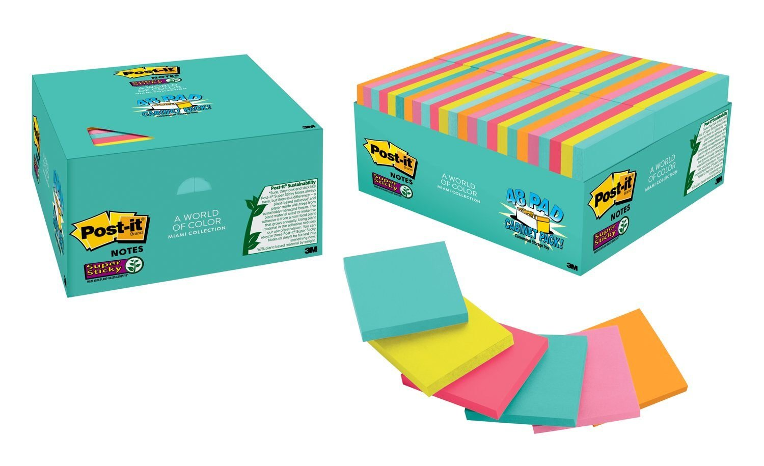 Amazon.com : Post-it Super Sticky Notes, 3 in. x 3 in, Miami ...