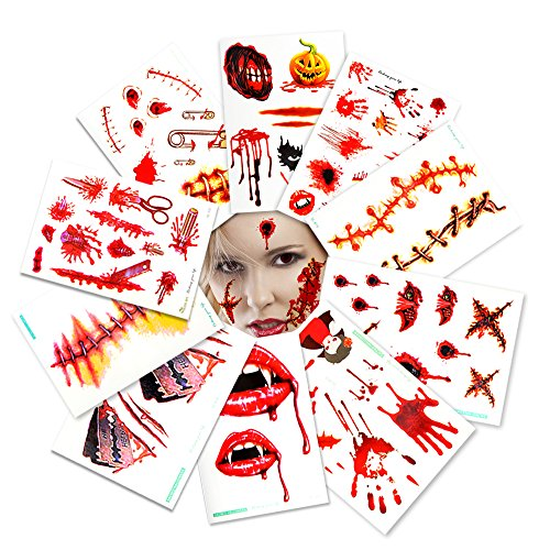 Geekper Halloween Party Bloody Scar Tattoo Window Decal Handprint Bloodstains Sticker Halloween Costume Party Decorations 10 Pack - Unique And Different Halloween Costumes