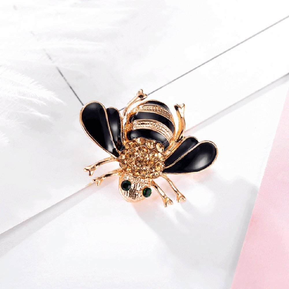 Kercisbeauty Halloween Bee Diamond Brooch Pin Delicate Collar Pin Badge Halloween Party Prom