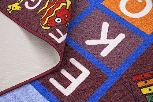Ottomanson Jenny Collection Dark Red Frame with Multi Colors Kids Children's Educational Alphabet (Non-Slip) Area Rug, 8'2 X 9'10, Red by Ottomanson (Image #2)