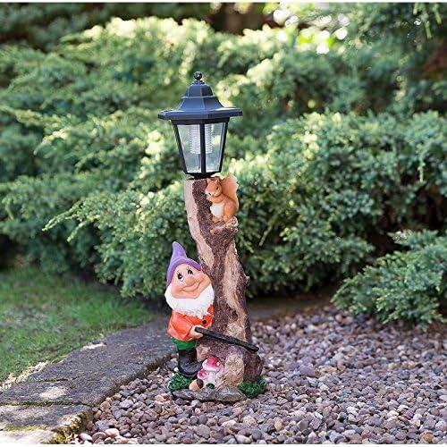 Al aire libre solar gnomo de jardín Estatua Figura decorativa en poste de luz lámpara – Sombrero Morado: Amazon.es: Jardín