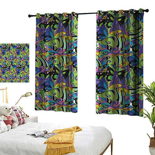 (Anzhutwelve Window Draperies Mushroom,Groovy Trippy Mixed Colors Toadstool Fungus Plants Natural Swirls Butterflies,Multicolor W63 x L72 Grommet Curtains for Girls Room )