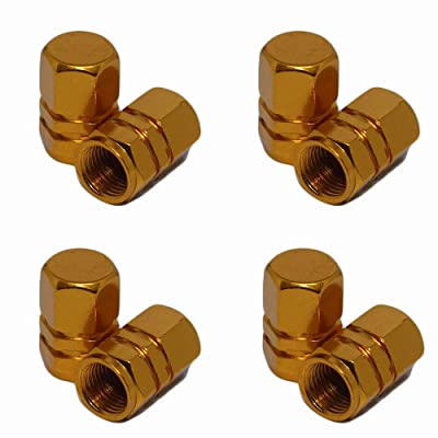 ReplaceMyParts Valve Stem Covers Caps Dustproof Airtight Seal Hexagon Design Outdoor All-Weather Leak-Proof Air Protection Light-Weight Aluminum Alloy (8 Pieces), Gold: Automotive