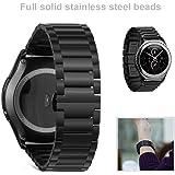 Samsung Gear S2 Classic Cinturino Cinghia Perline Acciaio Inox 316L Fibbia Magnetica Orologio Intelligente Smartwatch - Colore Nero
