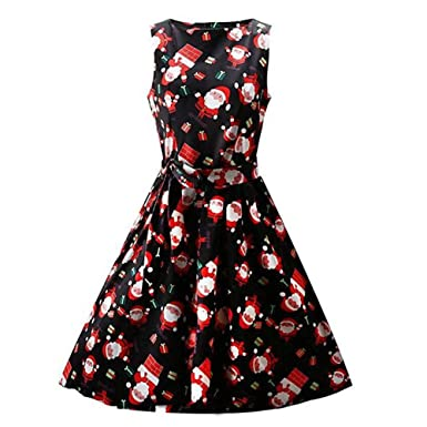 e574035e23 Byste Women Santa Snowman Christmas Dress Sleeveless Swing Retro Dresses