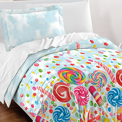 dream FACTORY Sweet Candy Comforter Set, Twin, Blue (Candy Bedding)