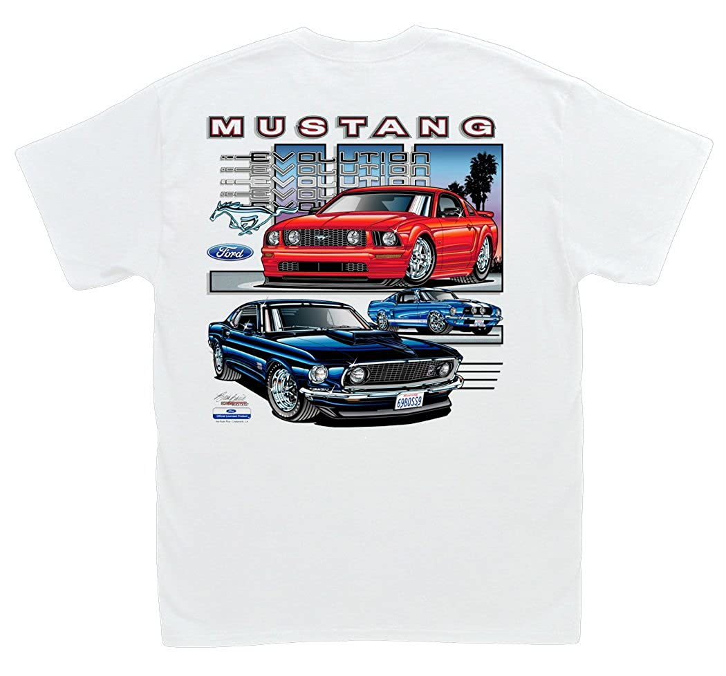 Amazon com hot shirts ford mustang evolution white t shirt 1967 shelby gt500 boss gt clothing