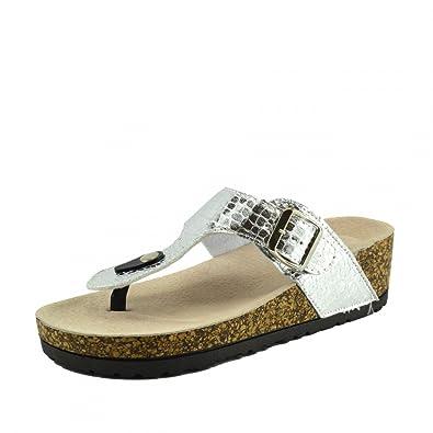 Kick Footwear - Damen Womens Slip On Gepolsterte Fußbett Kork Flip-Flops  Metallische Pantoletten Sandalen