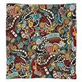 Super Soft Throw Blanket Custom Design Cozy Fleece Blanket,Doodle,Cinema Items Combined in an Abstract Style Popcorn Movie Reel The End Theatre Masks Decorative,Multicolor,Perfect for Couch Sofa or Be