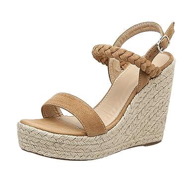LILICAT ✈✈ 2019 Moda Mujer Correa Cruzada Dedo Plano Sandalias Zapato de Corcho Zapatillas de Paja Cuña de Fondo Grueso con Sandalias Femeninas de ...