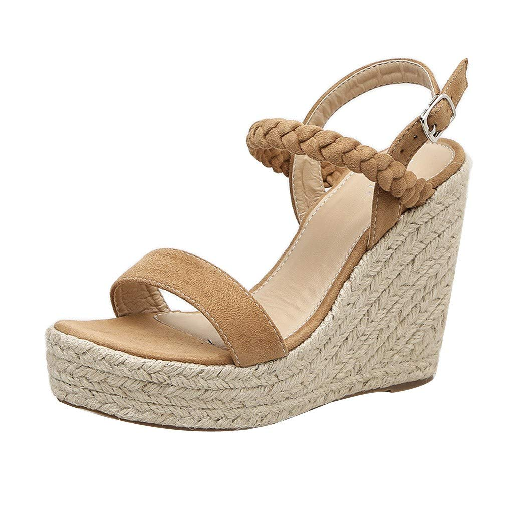 High Heels Sandals for Women,HOSOME Women Sexy Wedge Sandals Pumps Platform High Heels Woven Hemp Loop Shoes Brown