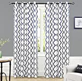 Cheap DriftAway Geovany Room Darkening/Thermal Insulated Grommet Window Curtains, Moroccan Geometric Trellis Pattern, Set of Two Panels, each size 52″x84″ (Navy)