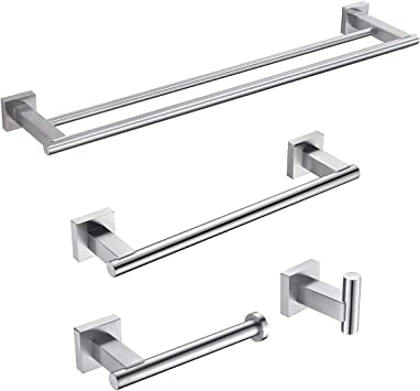 Brushed Finish 3-Pieces Set Bathroom Hardware SUS304 Stainless Steel Wall Mounted Includes Toilet Paper Holder 2X Robe Towel Hooks,Bathroom Accessories Kit