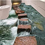 LHDLily 3D Wallpaper Mural Wall Sticker Thickening Custom Clear River Slate Trail Bathroom Bedroom Floor Waterproof Anti-Slip Self-Adhesive Decorative Floor Sticker 300cmX200cm