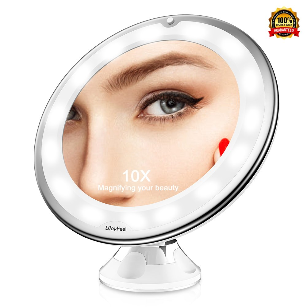 Magnifying Makeup Mirror 10x Magnification Mirror with 2 Modes Natural LED Light 360°Strong Secure Suction Cup