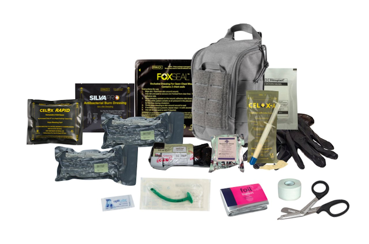 The 5.11 Advanced Trauma Kit Grey is designed to be TCCC compliant, and has the ability to address the three leading causes of combat and tactical deaths