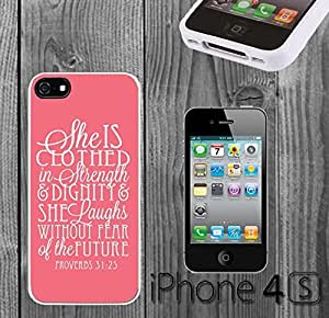 Bible Verse Proverbs 31 25 Custom made Case/Cover/Skin FOR iPhone 4/4s -White- Rubber Case (Ship From CA)