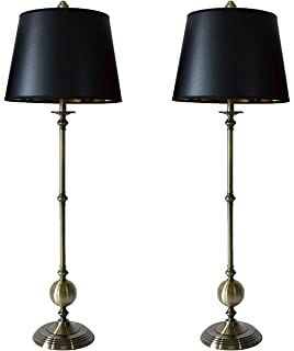 Urbanest set of 2 brushed nickel eaton buffet lamps with metal lamp urbanest set of 2 bastille buffet lamps in antique brass with black with gold foil liner aloadofball Images