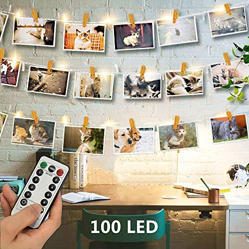 - 100 LED Wooden Photo Clips String Lights Picture Display - 33ft Battery Operated Hanging Picture Frame Indoor Fairy String Lights for Wedding Bedroom Party Christmas Decorations [Remote & 8 Modes]