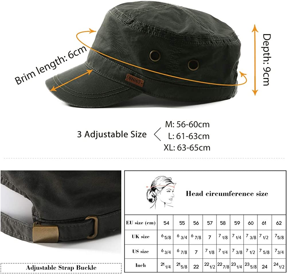 3 Sizes 56-65CM Comhats Mens 100/% Cotton Classic Army Caps Military Hats Baseball Cap for Men Adjustable