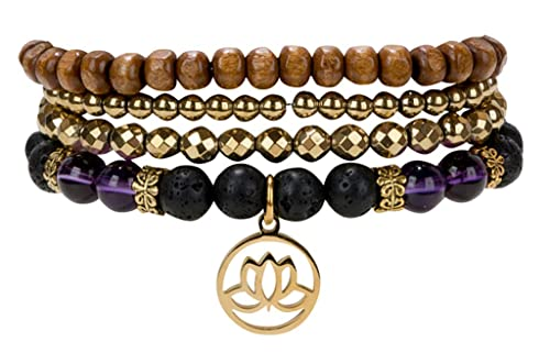 61affde85 SPUNKYsoul Lotus New Beginnings Bracelet Hematite Amethyst and Lava for  Healing Stack Bracelet Set Collection